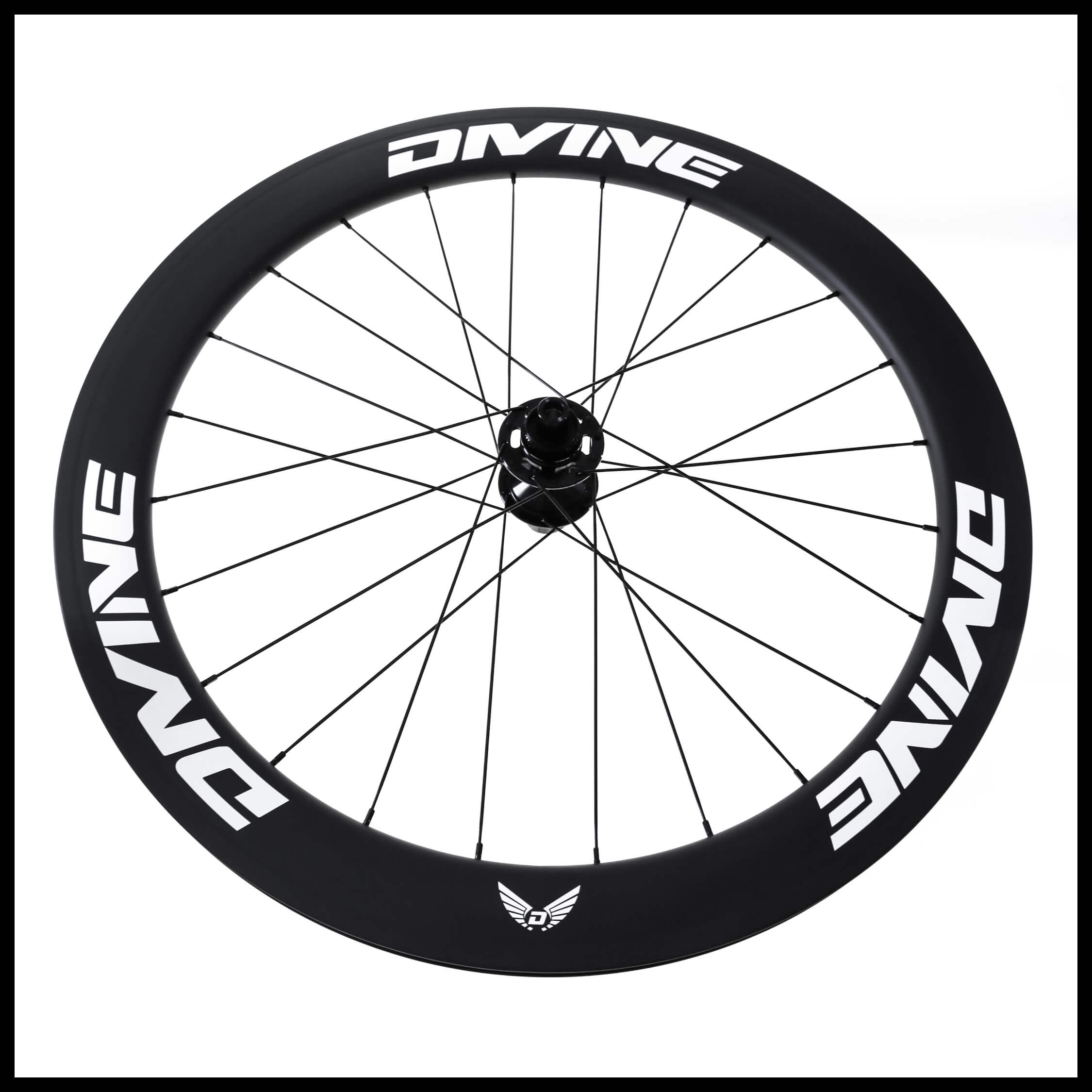 Carbon Road Bike Disc Brake Wheels White Logo | Divine Cycling